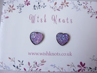 Heart Stud Earrings - Purple Sparkle Stardust Hearts