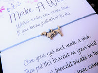 Wish Bracelet - Dachshund Puppy Dog Charm. Sausage Dog Bracelet. Choice of Colours