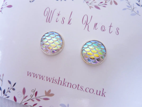 Mermaid Tail Earrings - Opal Mermaid Silver Plated Studs.