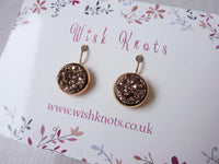 Rose Gold Druzy Earrings - Leverback Drop Earrings