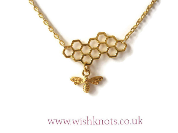 Honey Bee Necklace - Beehive Honeycomb Pendant. Gold Plated Bee Necklace.