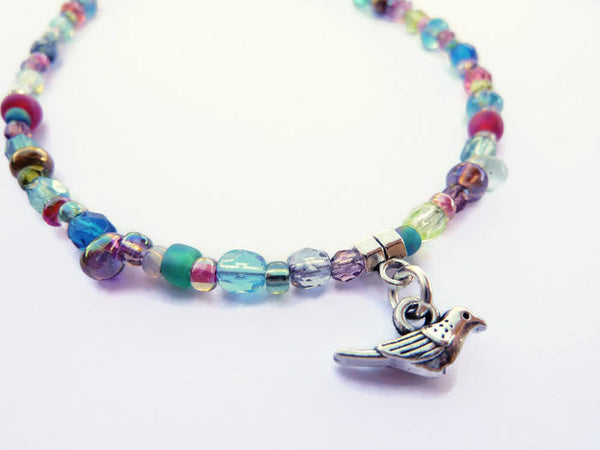 Little Bird of Sunshine Beaded Ankle Bracelet - Summer Anklet. Beach Jewelry. Holiday Gift. Bird Charm