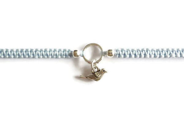 Tiny Bird Bracelet - Macrame Bracelet. Little Bird Charm. Choice of Colours.