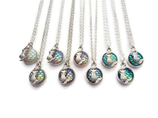 Mermaid Necklace - Mermaid Tail Pendant. Mermaid Charm. Choice of Colours.