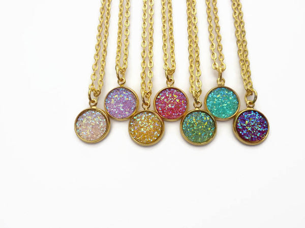 Stardust Necklace - Faux Druzy Pendant. Gold Plated Chain, Choose Length. Choice of Colours