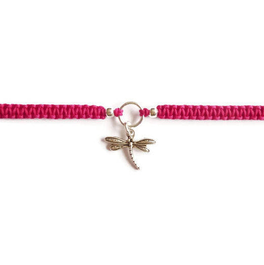 Dragonfly Bracelet - Dragonfly Macrame Charm Bracelet. Friendship Bracelet. Stacking Bracelet. Choice of Colours.