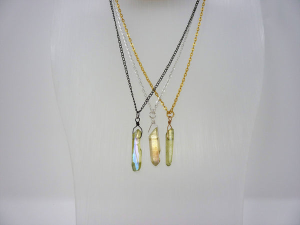 Aura Crystal Necklace - Natural Healing Quartz. Golden Green Crystal Layering Necklace. Choice of Chain & Length