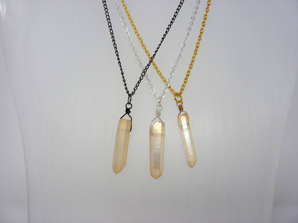 Aura Crystal Necklace - Natural Healing Quartz. Champagne Aura Crystal Necklace. Choose Chain & Length
