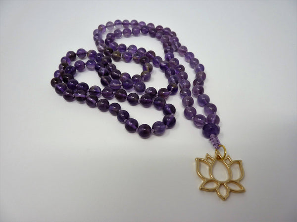 Amethyst Mala Necklace - Hand Knotted Lotus Gemstone Mala. Amethyst Prayer Beads. Meditation Necklace.