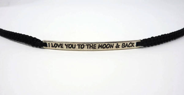 I Love You To The Moon And Back Bracelet. Stamped Macrame Bracelet. Choice of Colours.