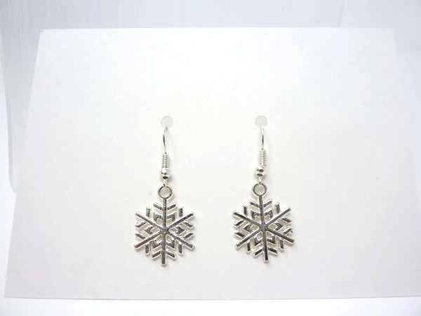 Silver Snowflake Earrings - Christmas Earrings. Simple Drop Earrings.