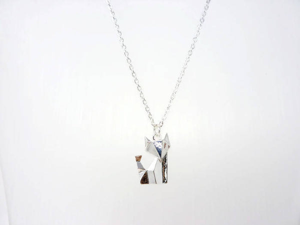 Origami Fox Pendant - Silver Fox Necklace. Choose Length.