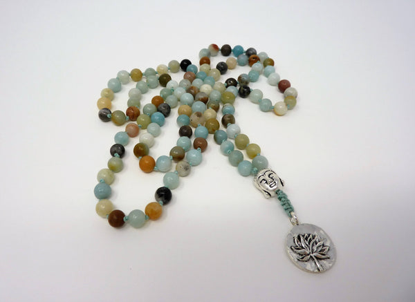 Amazonite Mala Necklace - Hand Knotted Buddha Gemstone Japa Mala. Amazonite Prayer Beads for Meditation