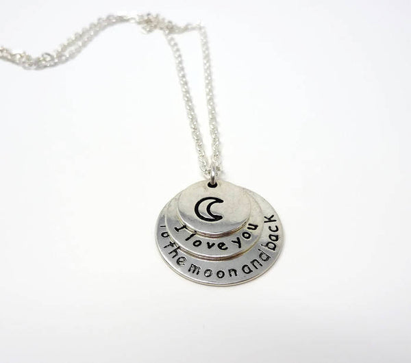 I Love You To The Moon And Back Necklace - Stamped Tag Necklace. Daughter Gift. Valentines. Moon Necklace.