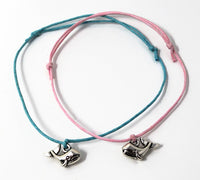Whale Wish Bracelet - Blue Whale Charm. Whale String Bracelet. Choice of Colours.