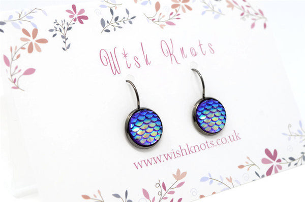 Blue Mermaid Scale Earrings - Purple Lever Back Earrings. Gunmetal Black Drop Earrings