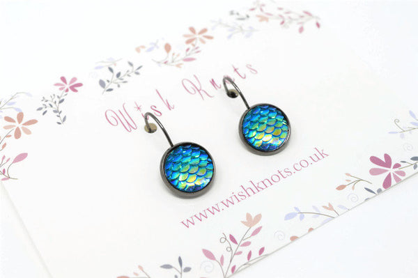 Blue Mermaid Scale Earrings - Ocean Blue Green Lever Back Earrings. Gunmetal Black Drop Earrings