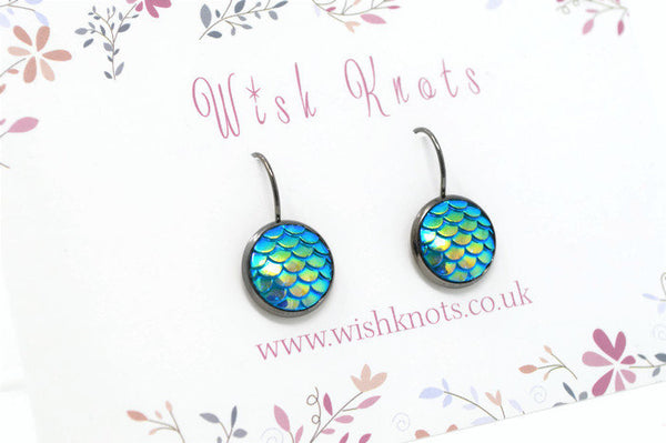 Mermaid Scale Earrings - Sea Blue Green Lever Back Earrings. Gunmetal Black Drop Earrings