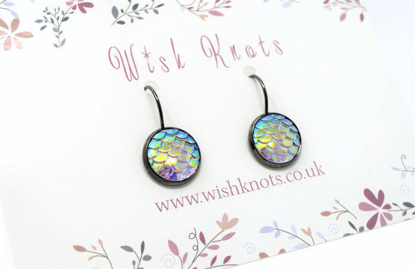 Mermaid Scale Earrings - Opal Rainbow Lever Back Earrings. Gunmetal Black Drop Earrings
