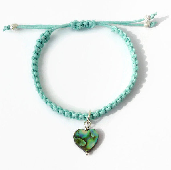 Abalone Heart Bracelet - Paua Shell Heart Charm Bracelet. Macrame Bracelet. Adjustable. Choice of Colours