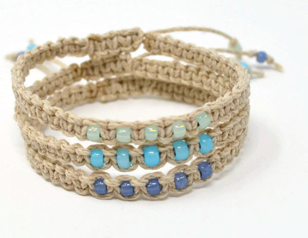 Hemp Macrame Bracelets Set - Stack of Bracelets. Blue Bracelet Set. Beach Holiday Jewellery. Stacking Bracelets
