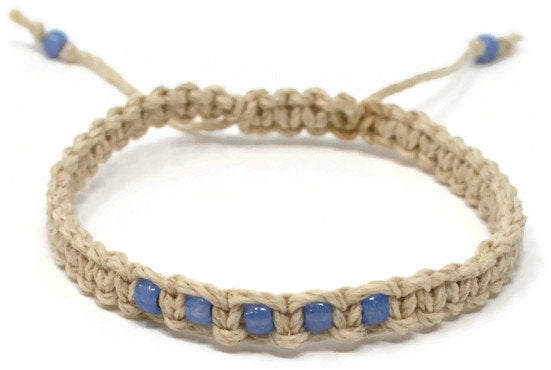 Hemp Macrame Bracelet - Blue. Beach Holiday Bracelet. Stacking Bracelet.