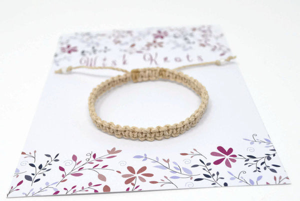 Hemp Macrame Bracelet - Plain Hemp Bracelet. Beach Holiday Bracelet. Stacking Bracelet.