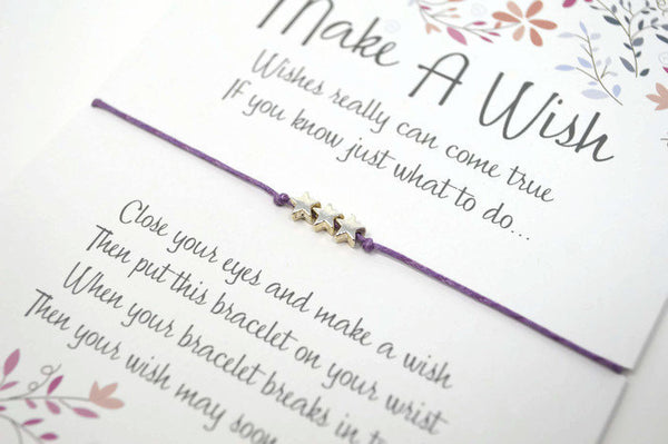 Wish Bracelet - Star Charm String Bracelet. Choice of Colours