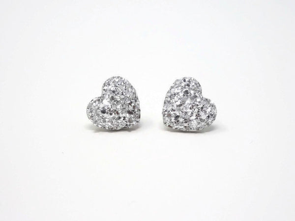 Silver Heart Stud Earrings - Stardust Heart Studs. Bridesmaid Earrings. Be My Bridesmaid.