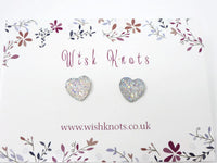 Heart Stud Earrings - Opal Glitter Sparkle Heart Studs. Bridesmaids Simple Earrings