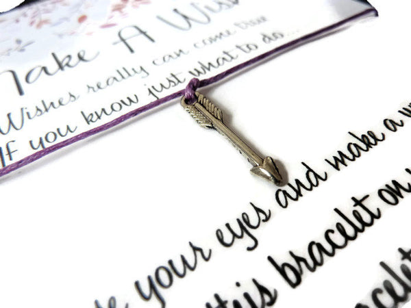 Wish Bracelet - Arrow Charm. Direction, Guidance. Follow Your Arrow. Choice of Colours