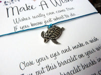 Wish Bracelet - Sea Turtle Bracelet. Lucky Turtle Charm. Choice of Colours