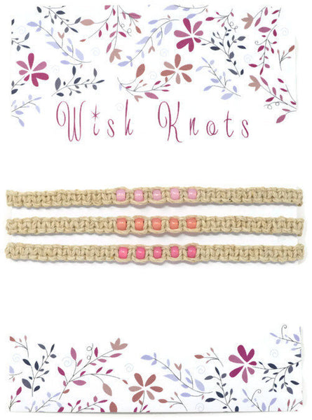 Hemp Macrame Bracelets Set - Stack of Bracelets. Pink Bracelet Set. Beach Holiday Jewellery. Stacking Bracelets