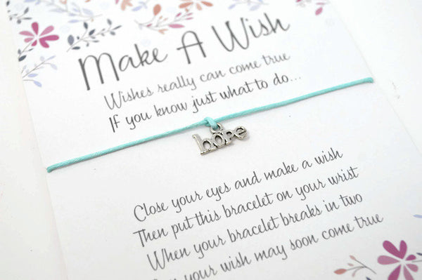 Hope Wish Bracelet - Hope Charm Bracelet. Friendship Bracelet. String Bracelet. Choice of Colours.