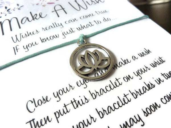 Wish Bracelet - Lotus Charm. Lotus Bracelet. Choice of Colours.