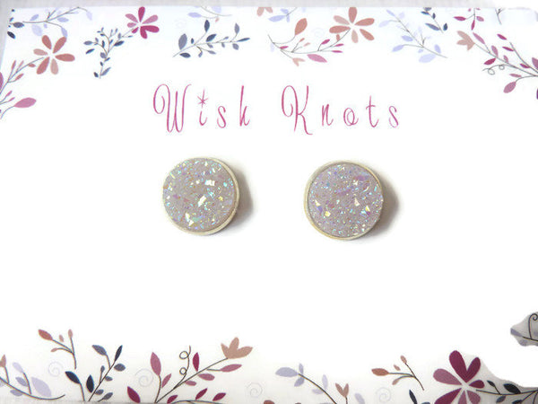 Opal Druzy Stud Earrings - Faux Druzy Studs. Rainbow Opal.