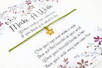 Wish Bracelet - Gold Star Charm Bracelet. Lucky String Bracelet. Good Luck Gift - Choice of Colours