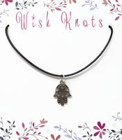 Silver Filigree Hamsa Hand Necklace. Hand of Fatima Pendant - Adjustable Black Cotton Cord Necklace