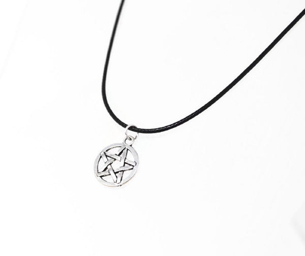 Silver Pentagram Necklace. Wicca Pendant - Adjustable Black Cotton Cord Necklace