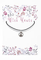 Silver CND Pendant. Peace Necklace. Adjustable Black Cotton Cord Necklace.