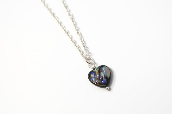 Genuine Abalone Heart Necklace. Paua Shell Pendant - Choose Length