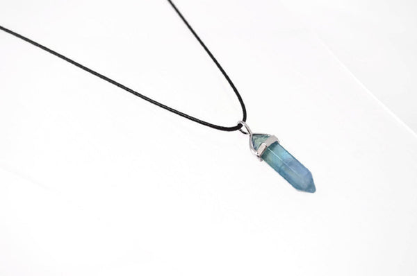 Genuine Blue or Green Fluorite Gemstone Point Necklace. Adjustable Cotton Cord Necklace