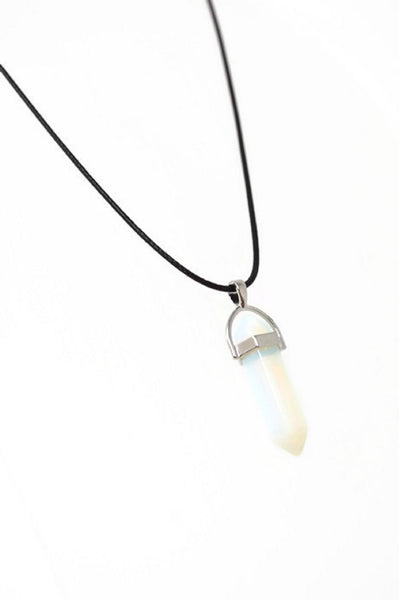 Opalite Gemstone Point Necklace - Adjustable Cotton Cord