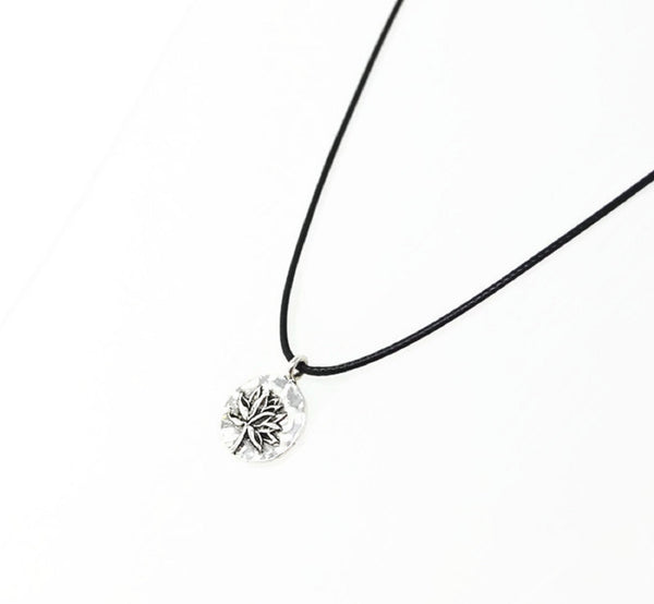 Silver Lotus Flower Necklace. Lotus Blossom Pendant - Adjustable Black Cotton Cord.