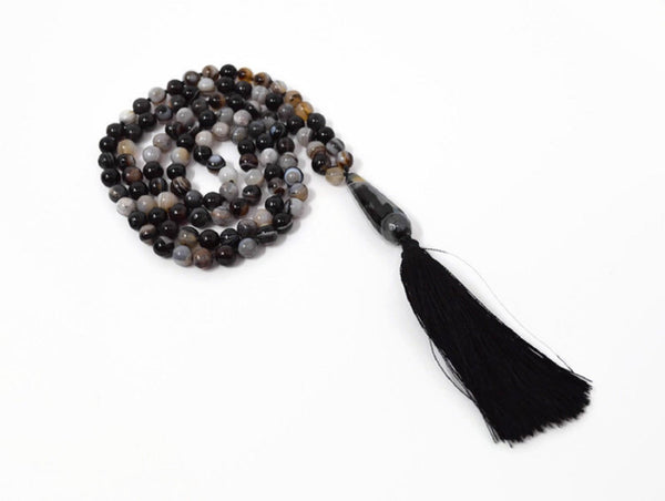 Hand Knotted Black Banded Agate Gemstone Mala Necklace With Tassel