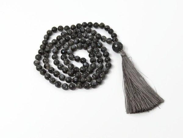 Hand Knotted Larvikite Gemstone Mala Necklace with FREE Angel Aura Necklace. 108 Mala with Tassel