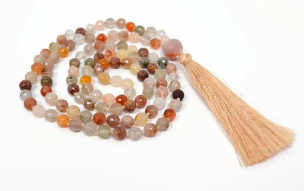 Hand Knotted Natural Rutilated Quartz Gemstone Mala Necklace with FREE Angel Aura Necklace. 108 Mala with Tassel