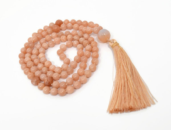 Hand Knotted Sunstone & Moonstone Gemstone Mala Necklace with FREE Angel Aura Necklace. 108 Mala with Tassel