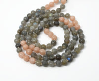 Hand Knotted Labradorite & Sunstone Gemstone Mala Necklace with FREE Angel Aura Necklace. 108 Mala with Tassel