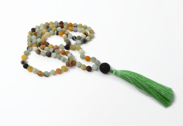 Hand Knotted Natural Amazonite & Lava Bead Gemstone Mala Aromatherapy Necklace